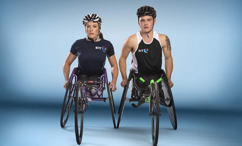 Photo of Hannah and Ben, wheelchair athletes.