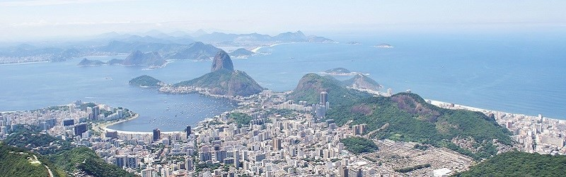 Photo of Rio de Janeiro from the air showing Sugarloaf Mountain
