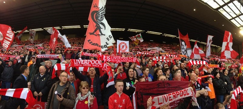 Photo of fans at Anfield Stadium.