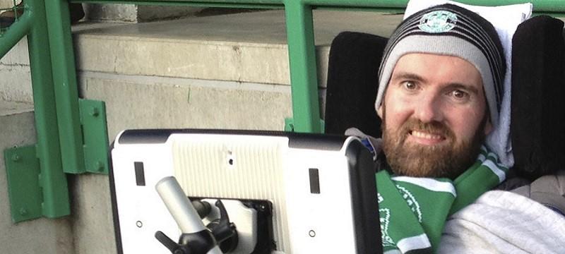 Photo of Euan at a football game.