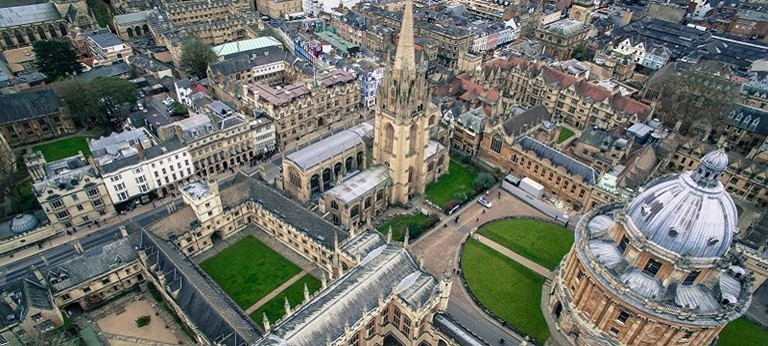 Birdseye view of Oxford.