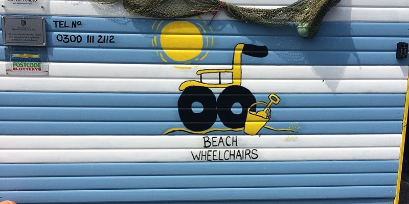 Beach wheelchairs.